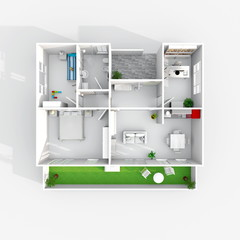 3d rendering furnished home apartment