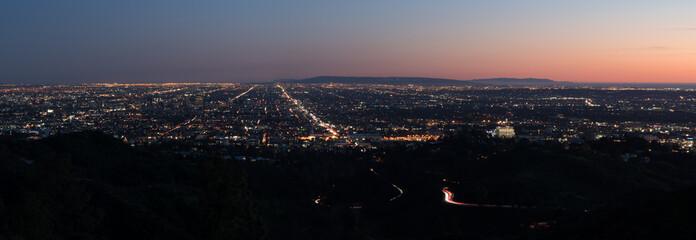 Los Angeles, California, USA downtown skyline at night, panoramic view