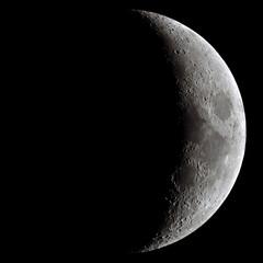 Waxing crescent Moon through a telescope