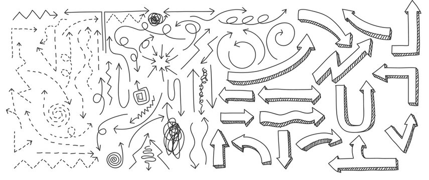 arrow  Hand drawn elements line art vector set art illustration