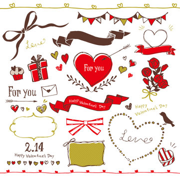 バレンタイン フレーム 白背景
