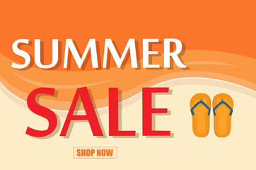 Summer sale template banner vector illustration.