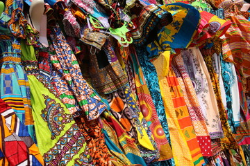 Traditional African Textiles / Beautiful decorated stalls offer colorful African Textiles in Lomé, Togo, West Africa.
