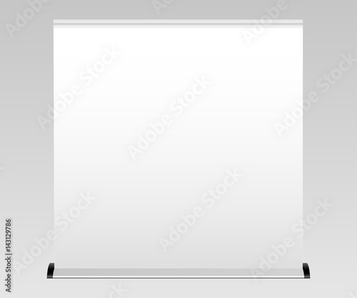 white wide blank roll up banner mockup apply your design and