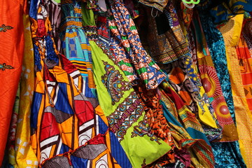 Foto op Plexiglas Paradijsvogel Traditional African Textiles / Beautiful decorated stalls offer colorful African Textiles in Lomé, Togo, West Africa.