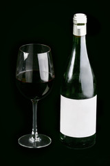 Black wine glass and bottle
