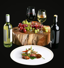 Dinner plate and wine presentation