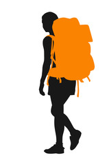 Backpacker. Vector silhouette