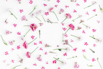Flowers composition. Frame made of various pink flowers on white background. Flat lay, top view