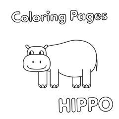 Cartoon Hippo Coloring Book