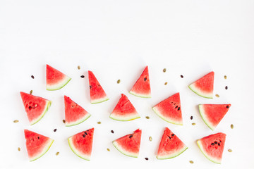 Watermelon. Sliced watermelon on white background. Flat lay, top view