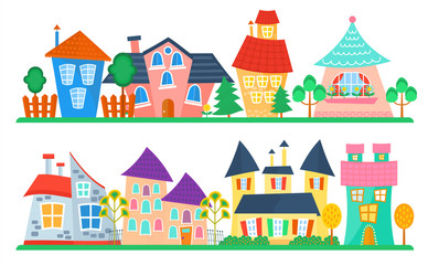 Cute cartoon houses collection. Funny colorful kid vector house set. Kids street.