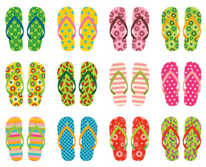 Set of colorful vector flip flops, beach sandals for summer holidays