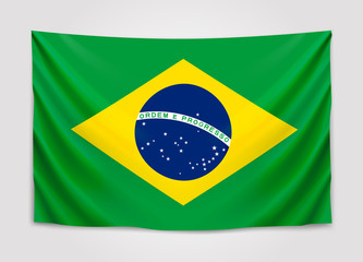 Hanging flag of Brazil. Federative Republic of Brazil. Brazilian national flag concept.