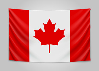 Hanging flag of Canada. Canada. National flag concept.