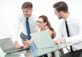 Working process, Successful business  team working in modern off