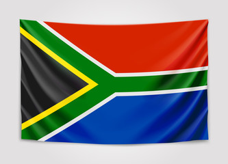 Hanging flag of South Africa. Republic of South Africa. RSA national flag concept.