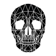 Teschio, design geometrico di poligoni, cranio vettoriale