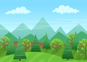 The peaceful green landscape with mountains and plants vector illustration.