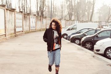 Young woman walking city