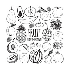 Set of fruit in doodle style.