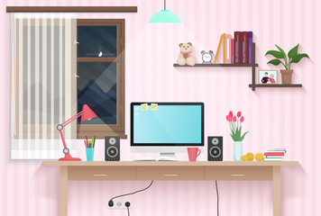 Female teenager room with workplace. Sweet girl style room interior design with furniture.