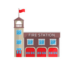 Fire station building in flat style on a white background