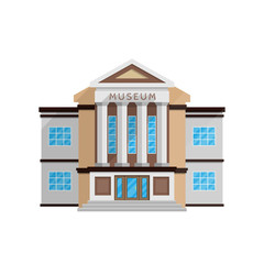Museum building in flat style isolated on white background