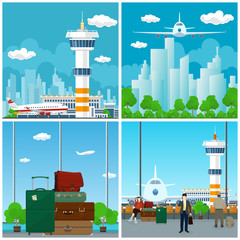 Arrivals at Airport, Waiting Room with People , View on Airplane through the Window and Luggage Bags for Traveling, Plane in the Sky, Travel and Tourism Concept, Vector Illustration