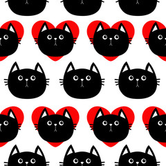 Black cat head with red heart. Cute cartoon character. Baby pet collection. Seamless Pattern Wrapping paper, textile template. White background. Flat design.