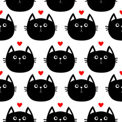 Black cat head with little red heart. Cute cartoon character. Baby pet collection. Seamless Pattern Wrapping paper, textile template. White background. Flat design.