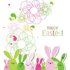Easter card with copy space. Floral background. Bunny family.