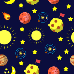 Seamless pattern with space, moon, mars, jupiter, sun and solar system.
