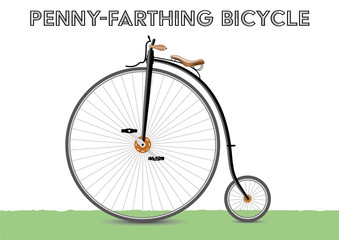 Penny-farthing bicycle victorian style. Isolated in layers