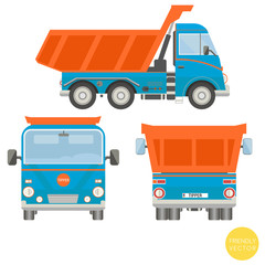 Cartoon transport. Dump truck vector illustration. View from side, back, front.