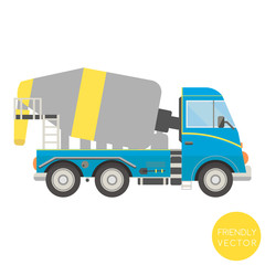 Cartoon transport. Mixer truck vector illustration. View from side.