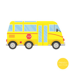 Cartoon transport. School bus vector illustration. View from side.