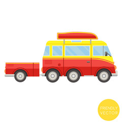 Cartoon transport. Van with trailer vector illustration. View from side.