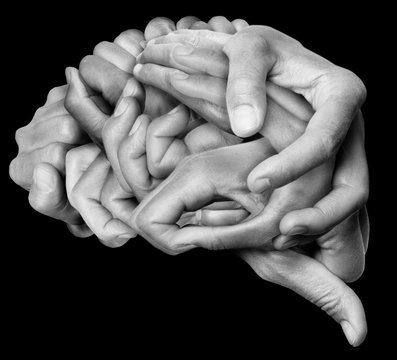 A human brain made ​​with hands, different hands are wrapped together to form a brain