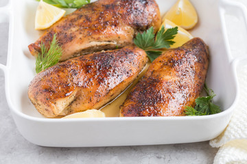 roasted  chicken breast with lemon and spicy herbs
