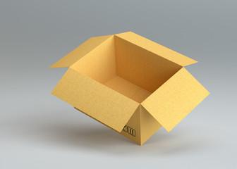 Empty open cardboard box on gray background