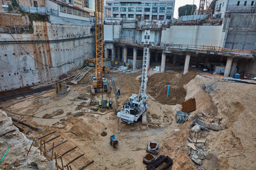 Tel-Aviv - 9 December, 2016: Workers in construction site, Tel Aviv