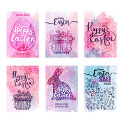 cards set Happy Easter sales, blue icons and symbols, Rabbit, egg, Basket with eggs on watercolor background, Typography poster, card, label, banner, design element. Vector illustration