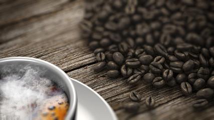 Tasse à café avec de la fumée et les grains de café sur une vieille table en bois. Rendu 3D.