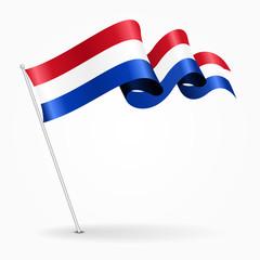 Dutch pin wavy flag. Vector illustration.