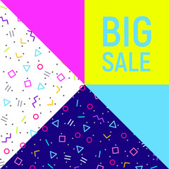 Abstract Big sale banner, geometric background, different geometric shapes - triangles, circle. Memphis style. Bright and colorful neon colors, funky 90s style. Vector illustration. Big sale lettering