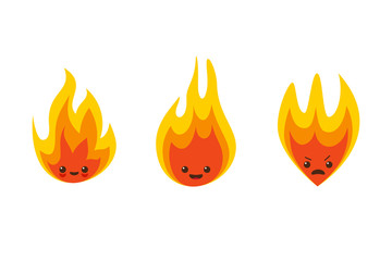 Vector fire flame character icons
