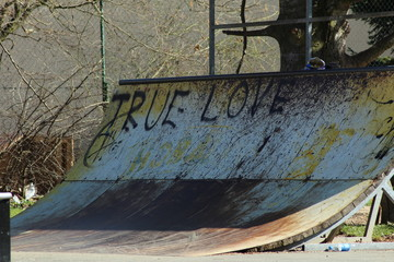 Freestyle ramp/ Old urban skate freestyle ramp with inscription TRUE LOVE.