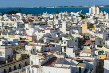 Panoramic view of Cadiz from Tavira tower, Andalusia, Spain