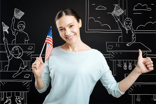 Positive teahcer celebrating independence day at school